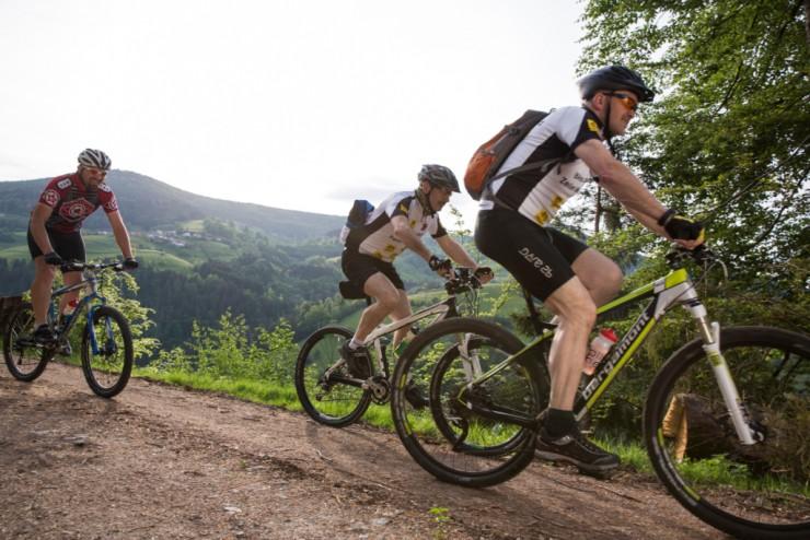 Drei Männer auf Mountainbike