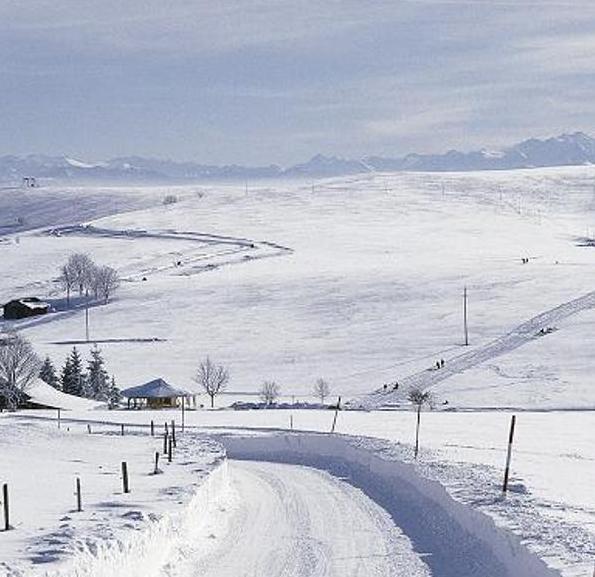 Winterlandschaft in Schopfheim-Gersbach mit Loipe