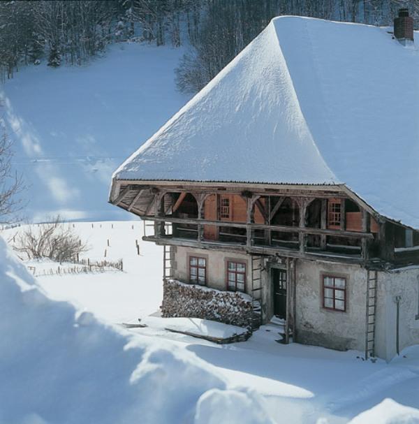 Altes Bauernhaus in einer Schneelandschaft