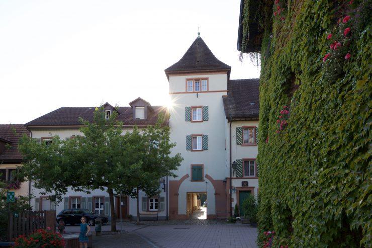 Schlossturm mit Brunnen